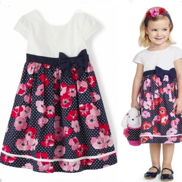 Girls Floral Dot Dress - Playful Poppies